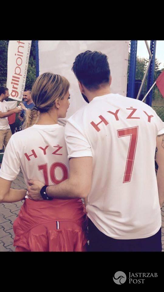 Agnieszka Hyży i Grzegorz Hyży kibicują w meczu Polska-Niemcy na EURO 2016