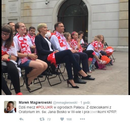 Andrzej Duda i Agata Duda kibicują Polsce