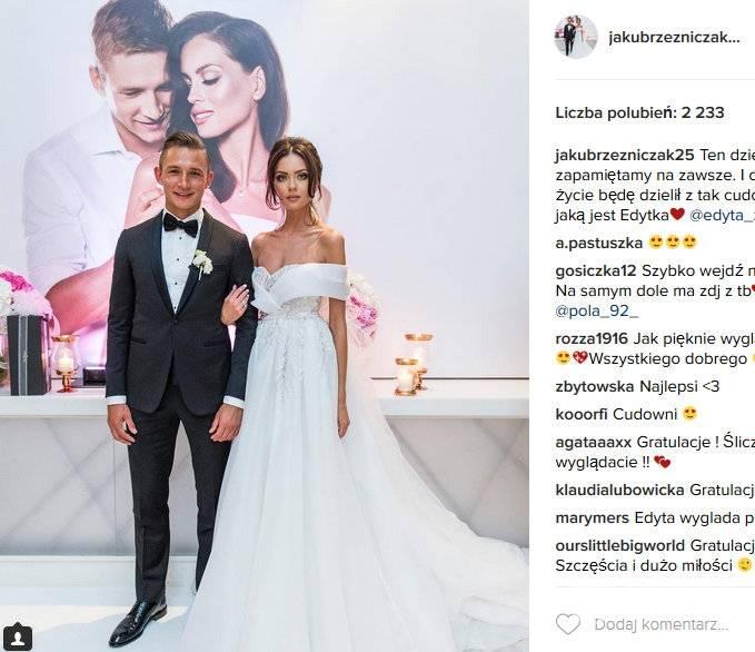 Kuba Rzeźniczak i Edyta Zając w dniu ich ślubu