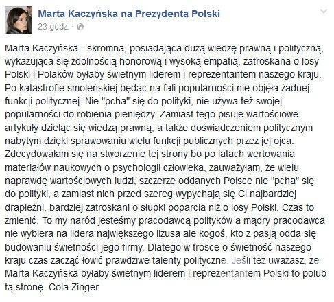 "Fanpage ""Marta Kaczyńska na Prezydenta Polski"""