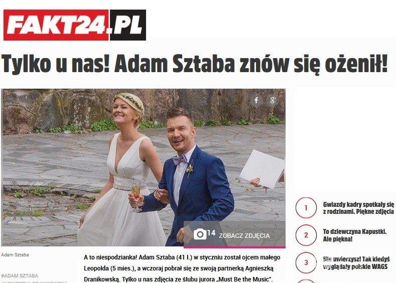 Ślub Adama Sztaby i Agnieszki Dranikowskiej. Zdjęcia i informację pokazał Fakt