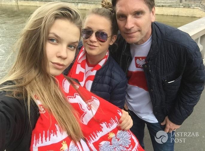 Tomasz Lis z córkami na meczu Polska-Niemcy na EURO 2016