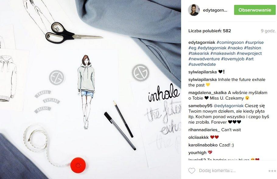 Projekty ubrań z kolekcji Edyty Górniak (fot. Instagram)