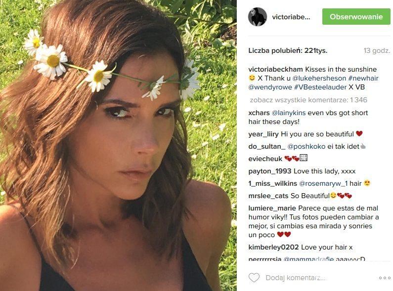 Victoria Beckham Z Nową Fryzurą I W Wianku Na Głowie Fot Instagram