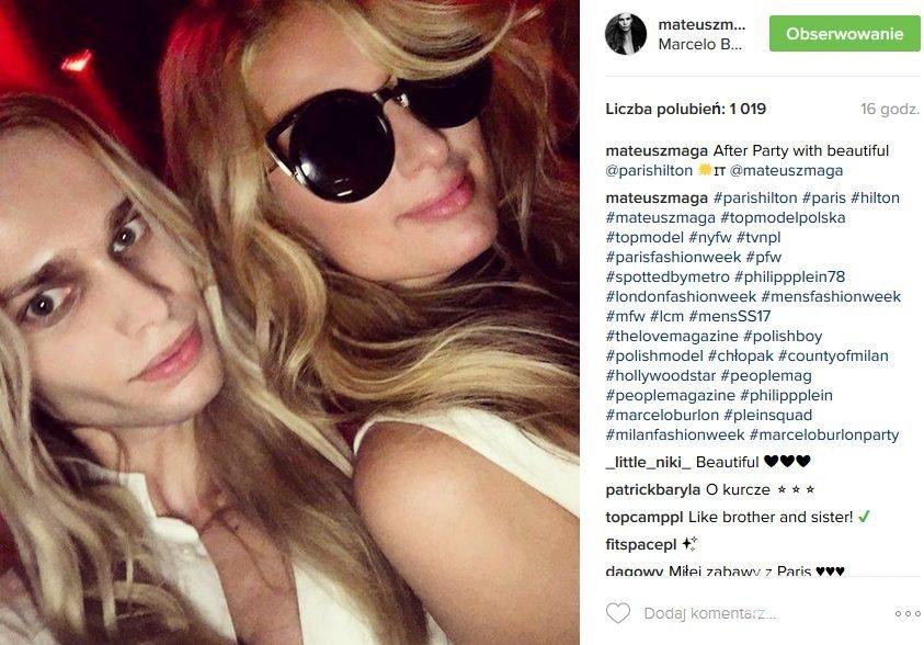 Mateusz Maga i Paris Hilton na Milan Fashion Week