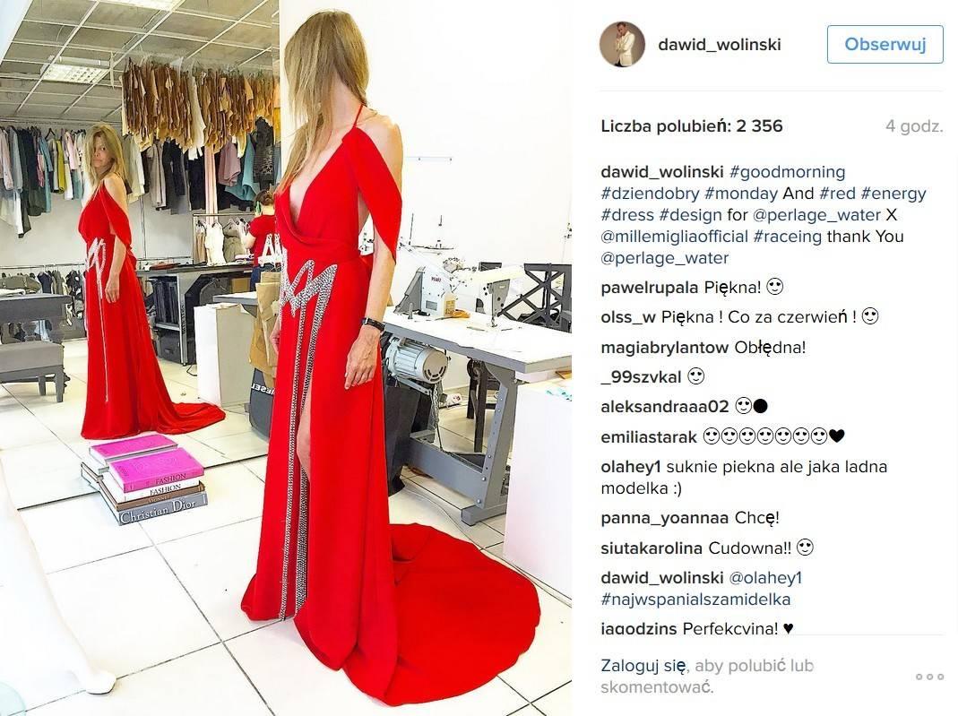 Inspirowana rajdem Mille Miglia suknia zaprojektowana przez Dawida Wolińskiego na pokaz Perlage w ramach Warsaw Fashion Street 2016