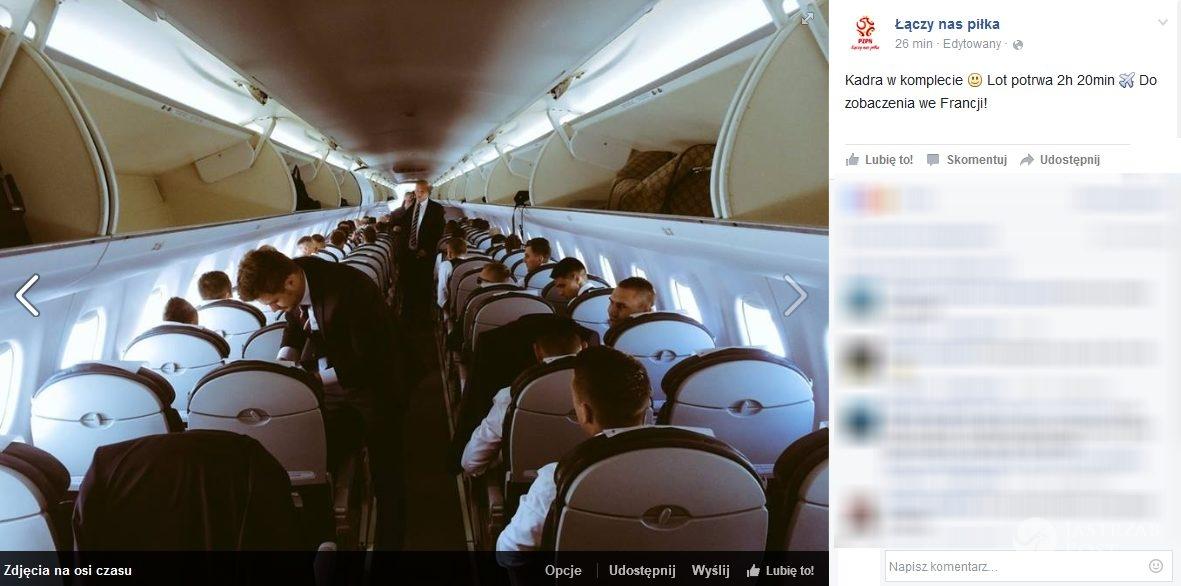 Reprezentacja Polski w drodze na EURO 2016 (fot. Facebook.com/LaczyNasPilka)