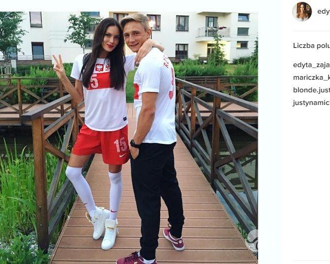Kuba Rzeźniczak i Edyta Zając kibicują w meczu Polska-Niemcy