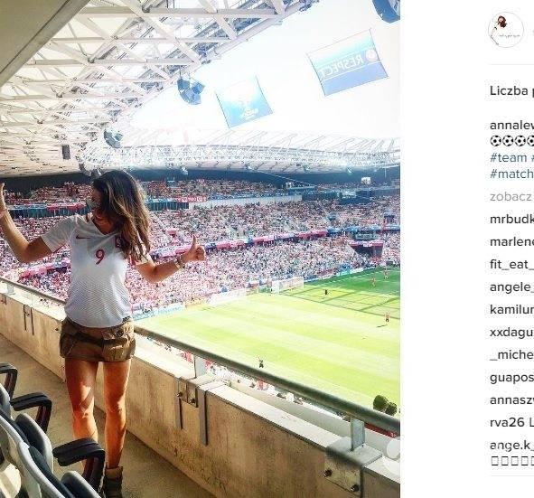 Anna Lewandowska na meczu Polska - Irlandia Północna