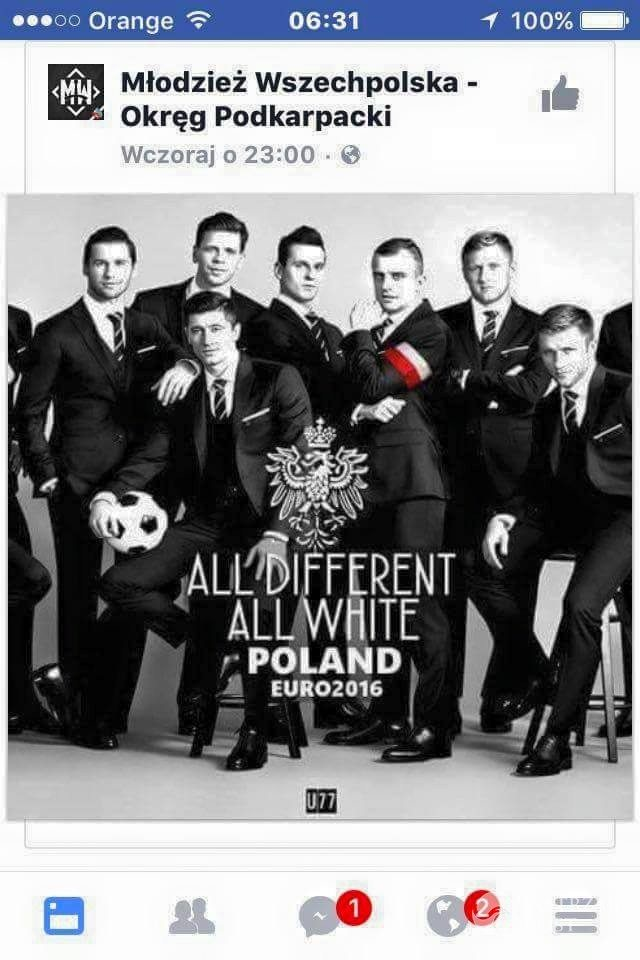 Rasistowski plakat z piłkarzami na EURO 2016