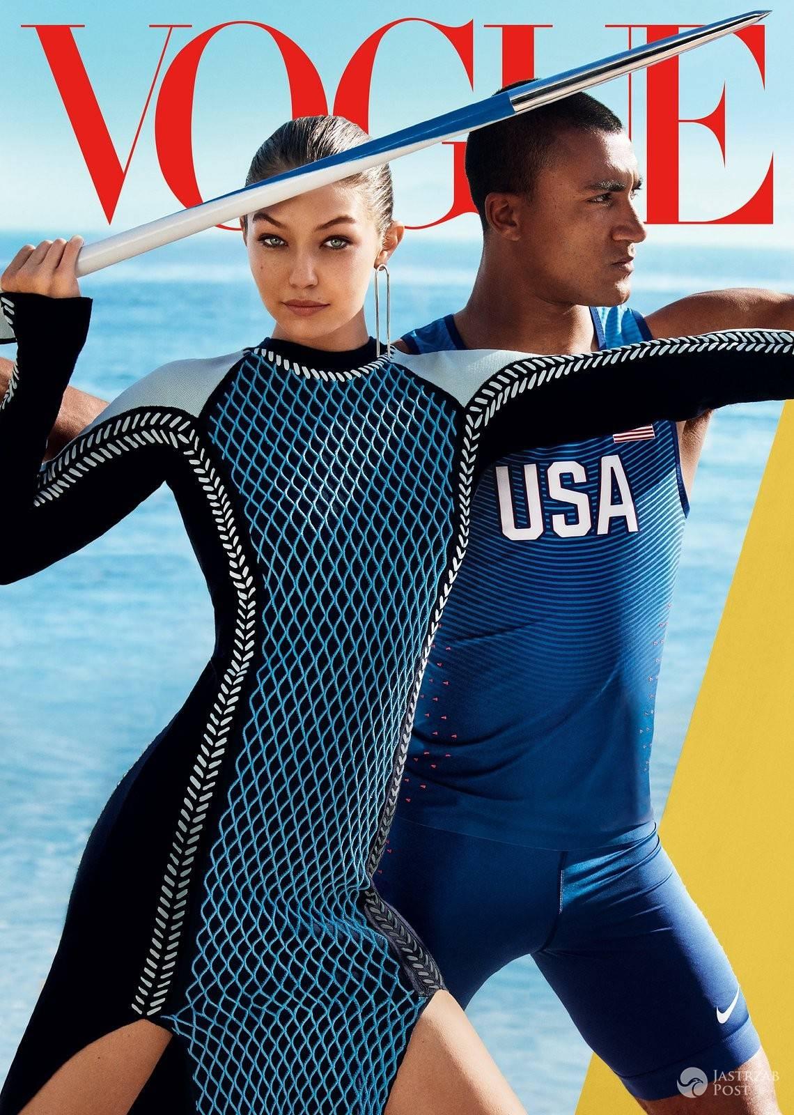 """Gigi Hadid i Ashton Eaton na okładce amerykańskiego """"Vogue'a"""", sierpień 2016 (fot. Mario Testino)"""