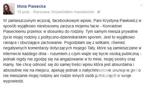 Mola Piasecka staje w obronie ojca