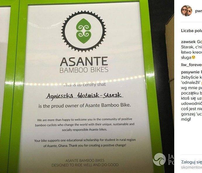 Agnieszka Szulim dostała rower Asante