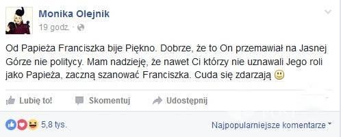 Facebook Moniki Olejnik - opinia o papieżu