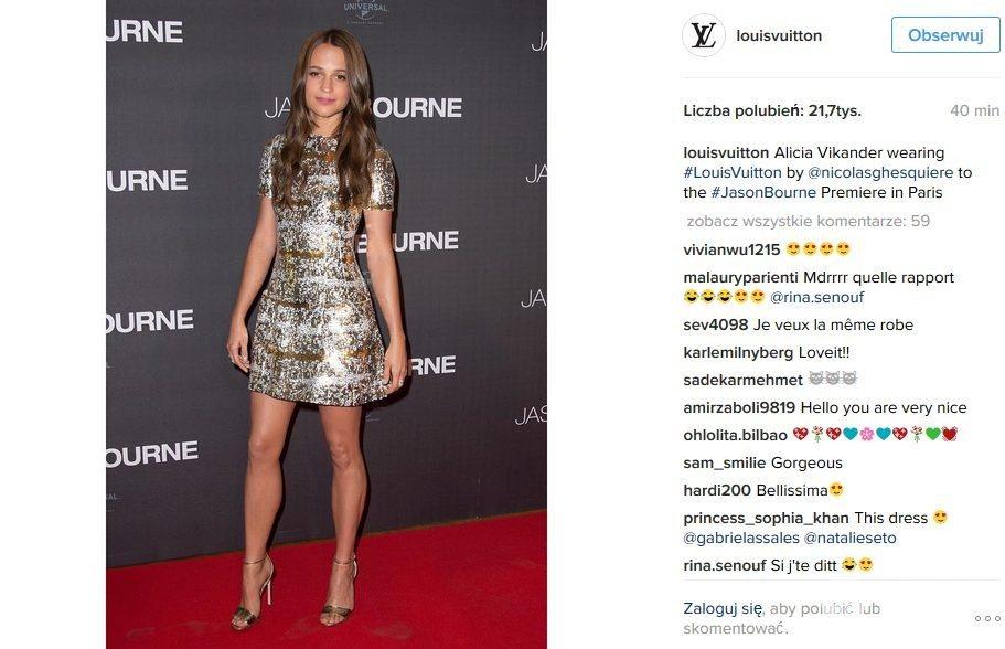 "Kreacja: Louis Vuitton. Alicia Vikander na premierze filmu ""Jason Bourne"" w Paryżu"
