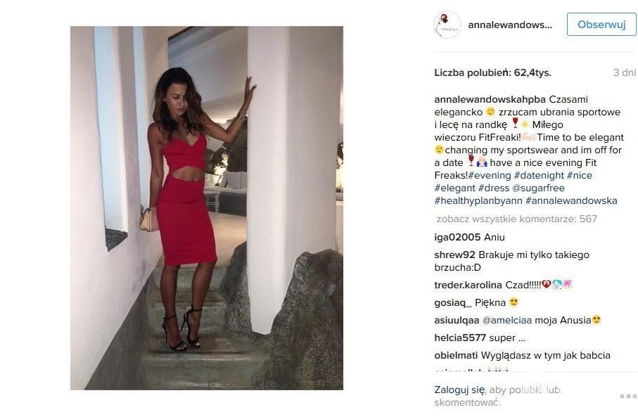 Anna Lewandowska w czerwonej sukience Sugarfree (149 pln)