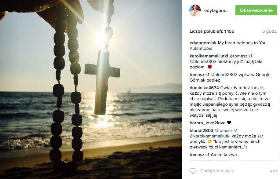 Edyta Górniak otwarcie mówi o swojej wierze. Takim zdjęciem podzieliła się z fanami na Instagramie