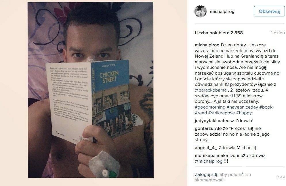 Michał Piróg już po operacji przegrody nosowej i małżowin nosowych w klinice laryngologicznej MML w Warszawie