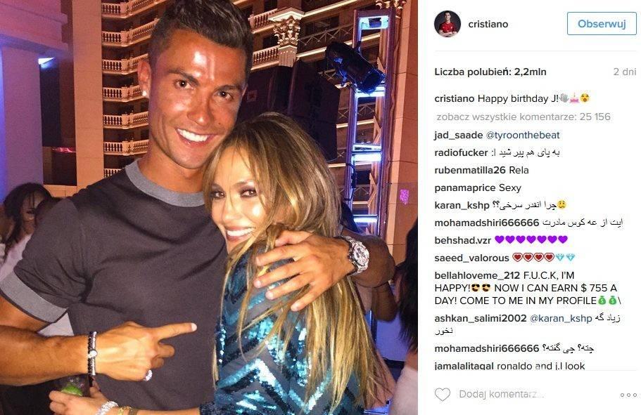 Z urodzinowymi życzeniami do Jennifer Lopez wpadł Cristiano Ronaldo