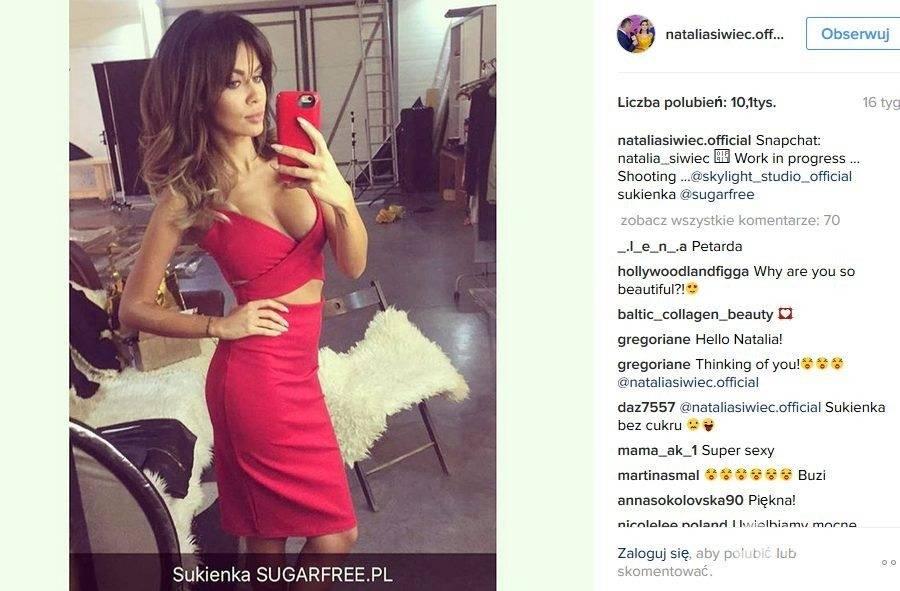 Natalia Siwiec w czerwonej sukience Sugarfree (149 pln)