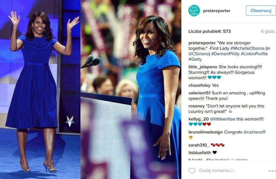 Michelle Obama w sukience Christian Siriano w pierwszym dniu konwencji Demokratów 2016 w Filadelfii
