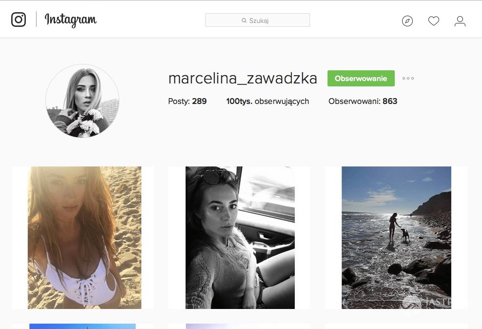 Marcelina Zawadzka ma 100 tysięcy fanów na Instagramie