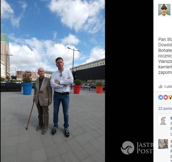 Filip Chajzer z bohaterem Powstania Warszawskiego
