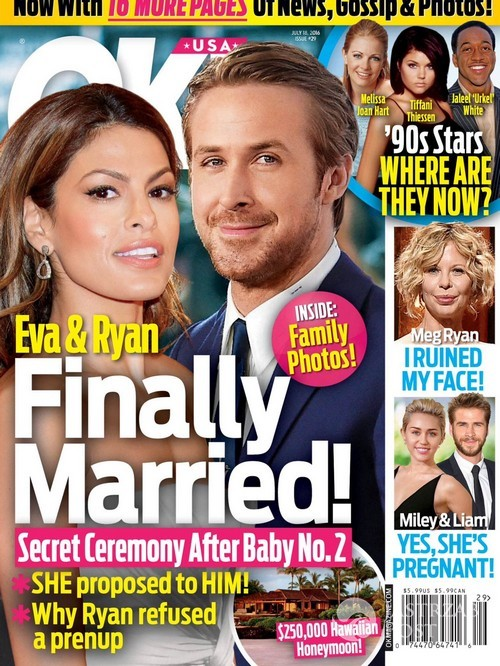 Ryan Gosling i Eva Mendes wzięli ślub (fot. OK! Magazine)
