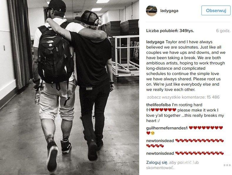 Lady Gaga poinformowała na Instagramie o rozstaniu z Taylorem Kinney'em