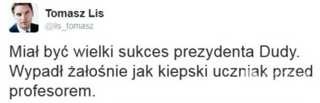 Tomasz Lis o Andrzeju Dudzie