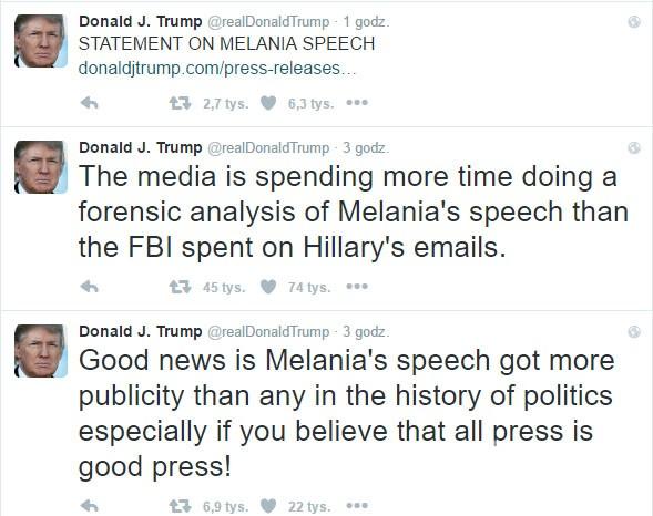 Donald Trump komentuje przemówienie żony na Twitterze