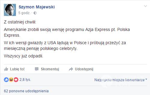 """Szymon Majewski śmieje się z """"Azja Express"""""""