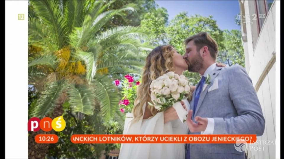 Magdalena Waligórska i Mateusz Lisiecki po ślubie. Zdjęcia fot. screen z programu Pytanie na śniadanie