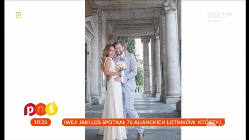 Magdalena Waligórska i Mateusz Lisiecki po ślubie. Zdjęcia 2016 fot. screen z programu Pytanie na śniadanie