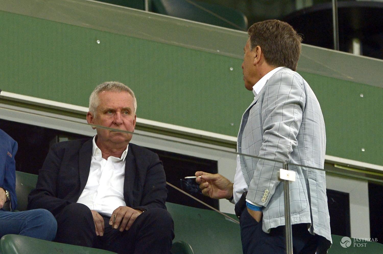 Krzysztof Materna, Wojciech Gąssowski na meczu Legii Warszawa z Borussią Dortmund