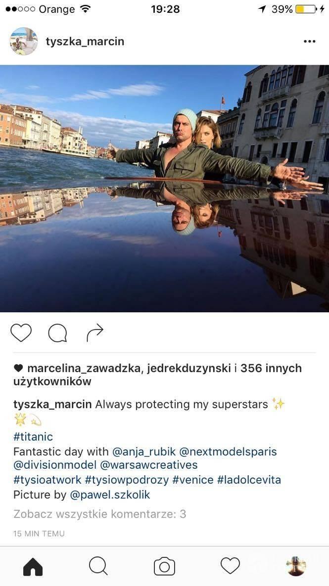 Marcin Tyszka i Anja Rubik podczas sesji w Wenecji