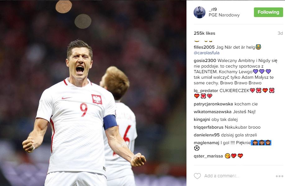 Robert Lewandowski podczas meczu Polska-Dania na Stadionie Narodowym 2016