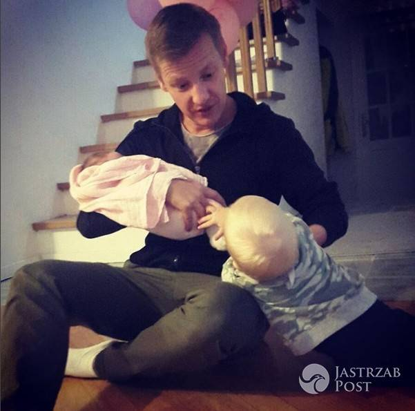 Rafał Mroczek z córką i bratankiem