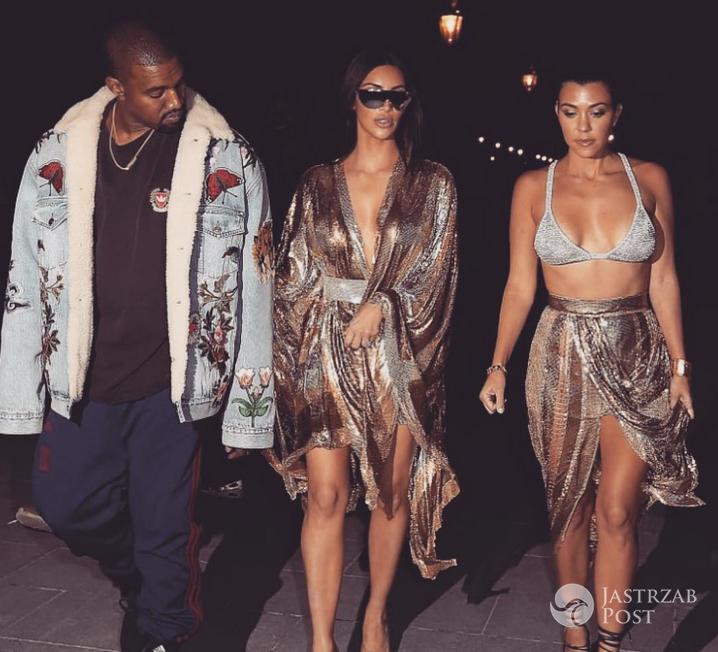 Kanye West, Kim Kardashian i Kourtney Kardashian podczas Paryskiego Tygodnia Mody 2016