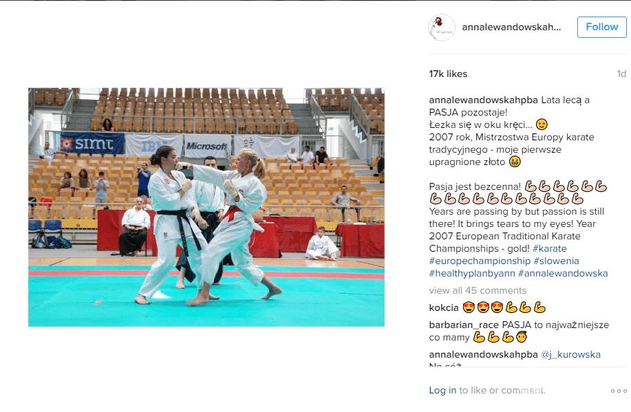 Anna Lewandowska na zdjęciu z 2007 roku podczas Mistrzostw Europy w karate!