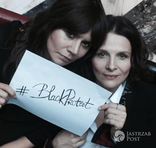 Juliette Binoche i Małgorzata Szumowska protestują przeciwko zaostrzeniu ustawy o prawie kobiet do aborcji podczas festiwalu Film Spring Open 2016 w Krakowie