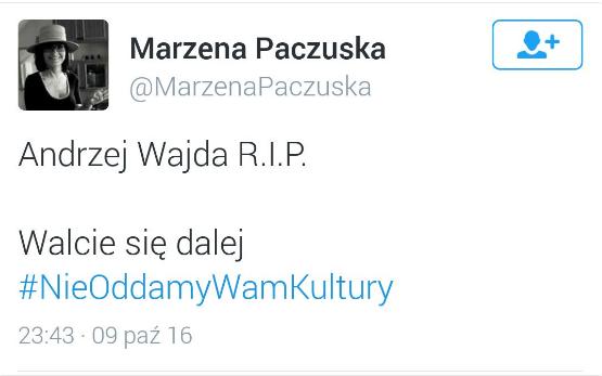 Marzena Paczuska o śmierci Andrzeja Wajdy