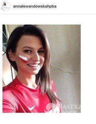 Anna Lewandowska kibicuje Polakom w meczu Polska - Rumunia