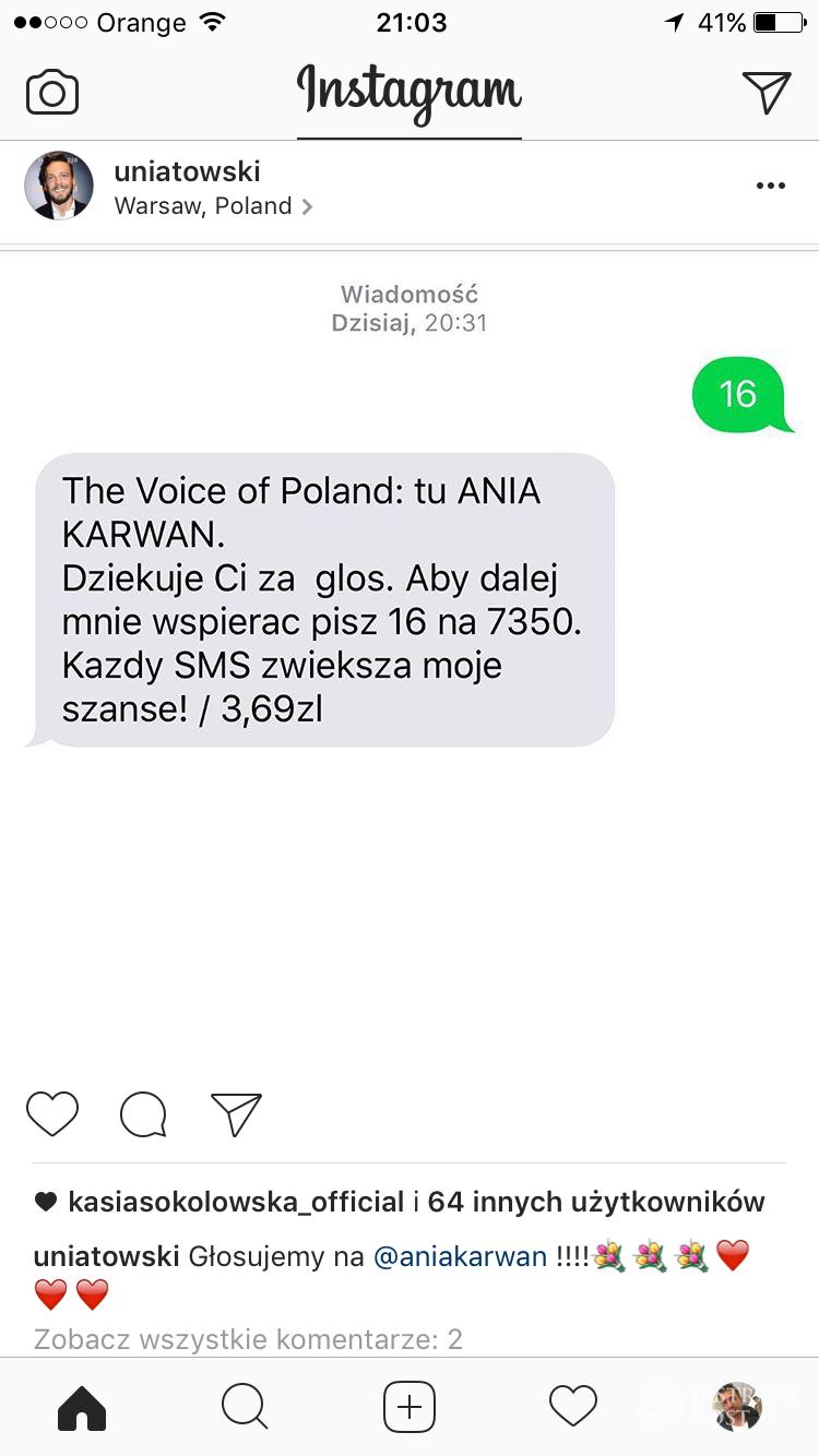 Sławek Uniatowski wysłał sms na Annę Karwan w finale The Voice 7