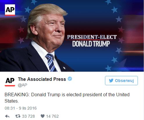 Donald Trump prezydentem USA