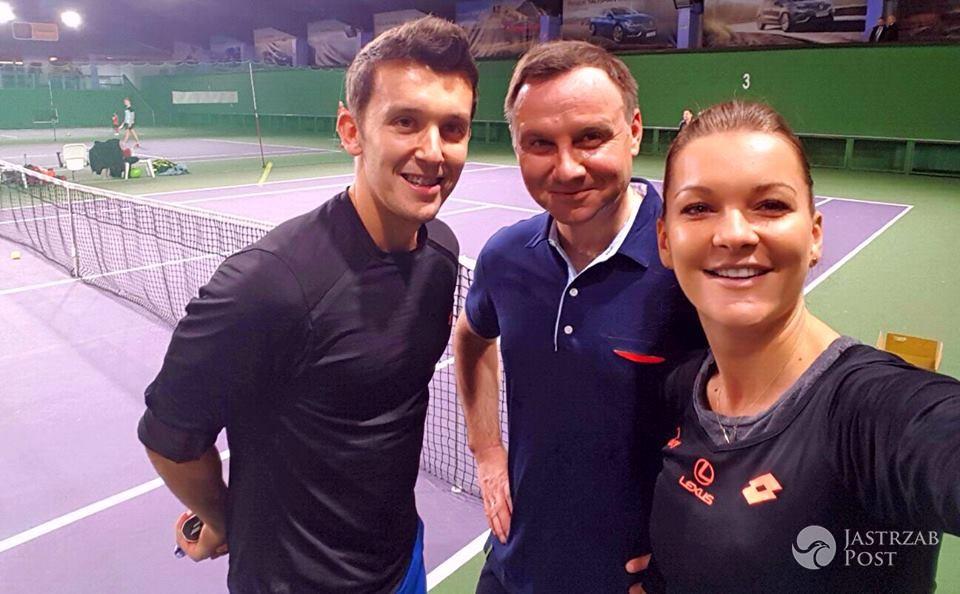 Agnieszka Radwańska grała w tenisa z Andrzejem Dudą