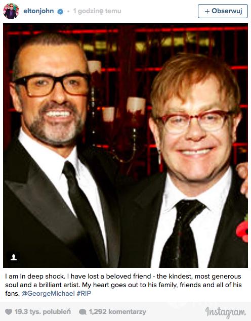 Elton John - Geroge Michael nie żyje, kondolencje