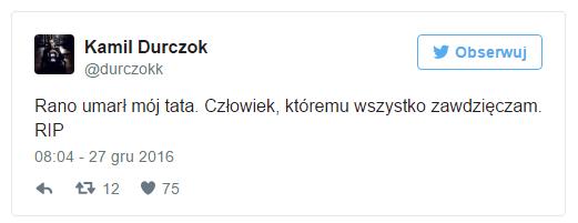 Nie żyje ojciec Kamila Durczoka