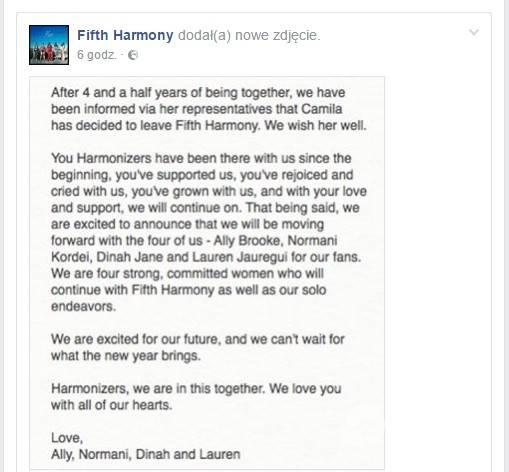 Oświadczenie zespołu Fifth Harmony