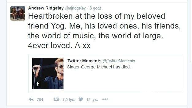 Andrew Ridgeley z zespołu Wham! pożegnał George'a Michaela
